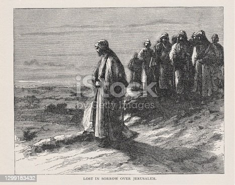 Jesus Christ, with his disciples present, mourns over Jerusalem. Illustration published in The Life of Christ by Louise Seymour Houghton (American Tract Society: New York) in 1890. Copyright expired; artwork is in Public Domain. Digitally restored.