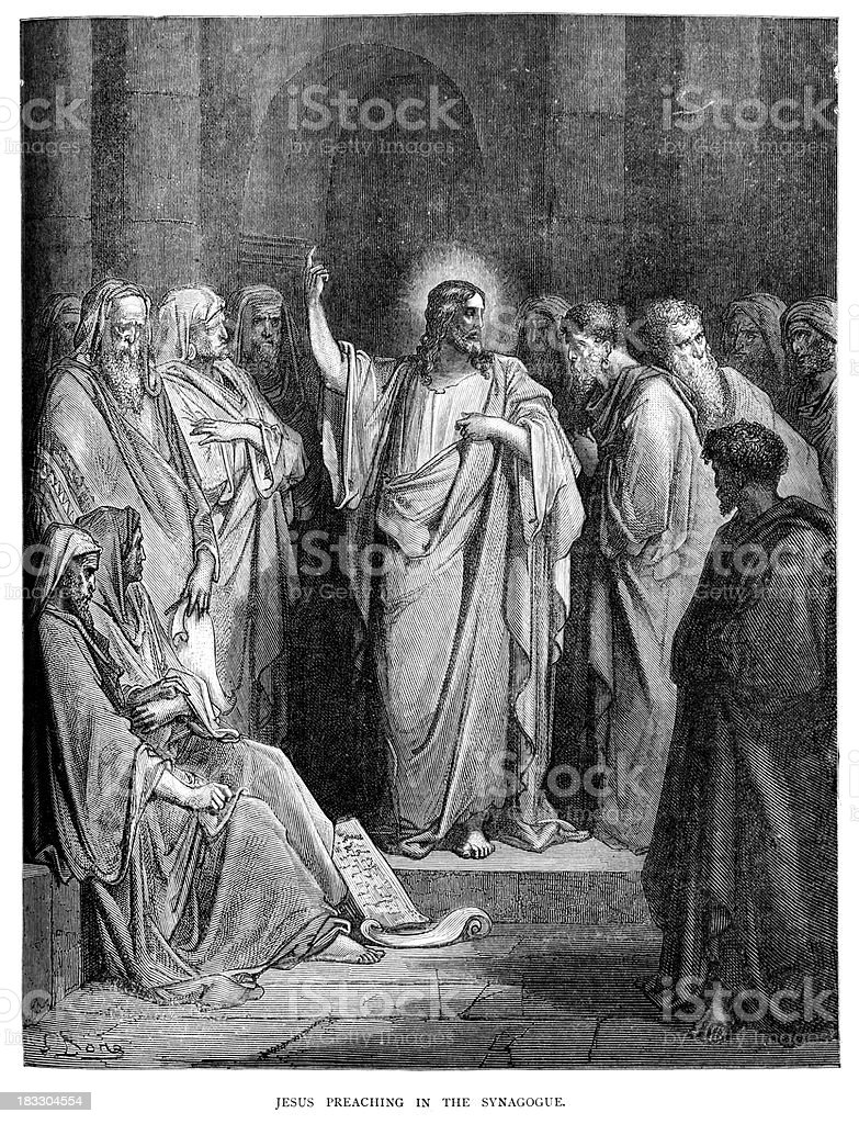 Jesus preaching in the synagogue vector art illustration