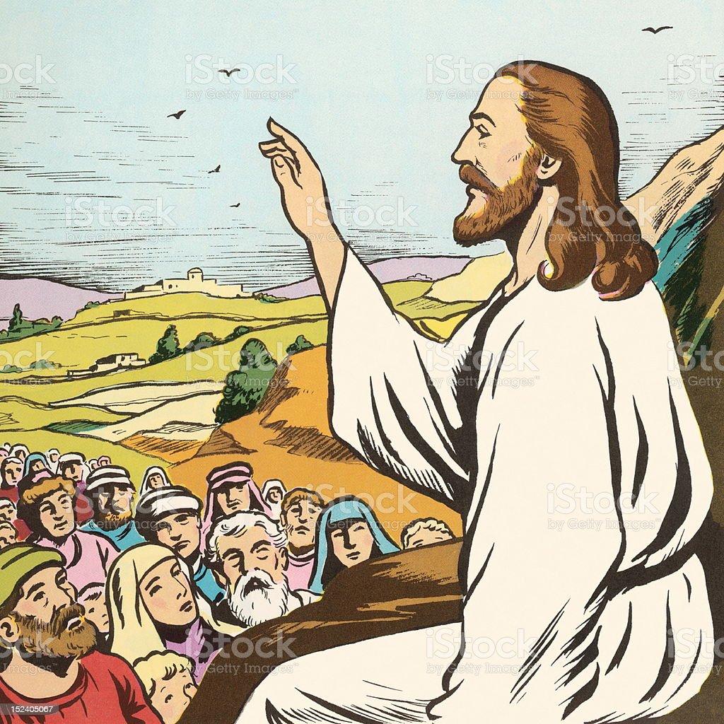 Jesus Preaching to People vector art illustration
