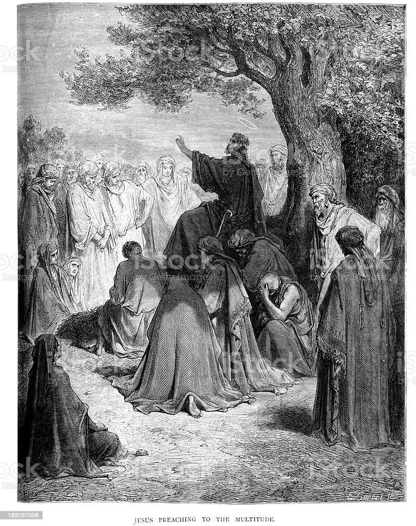Jesus preaching to the Multitude vector art illustration
