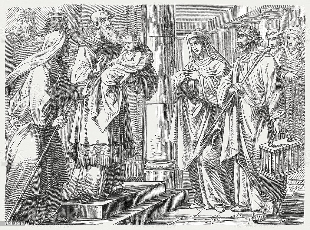 Jesus' Presentation at the Temple (Luke 2), published in 1877 royalty-free stock vector art