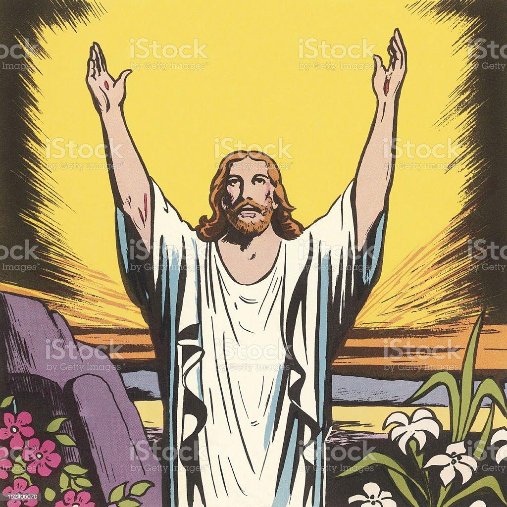 jesus raising his arms stock vector art 152405070 istock