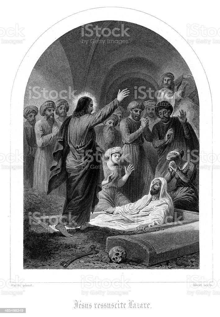 Jesus raising Lazarus from the dead royalty-free jesus raising lazarus from the dead stock vector art & more images of antique