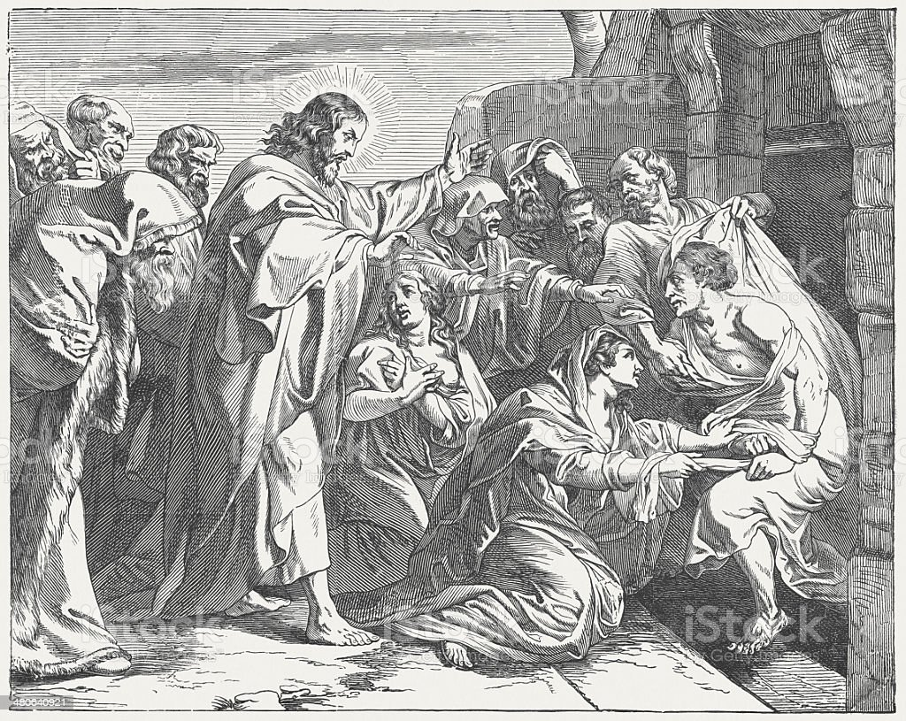 Jesus Raising Lazarus from the Dead (John 11), published 1877 royalty-free stock vector art