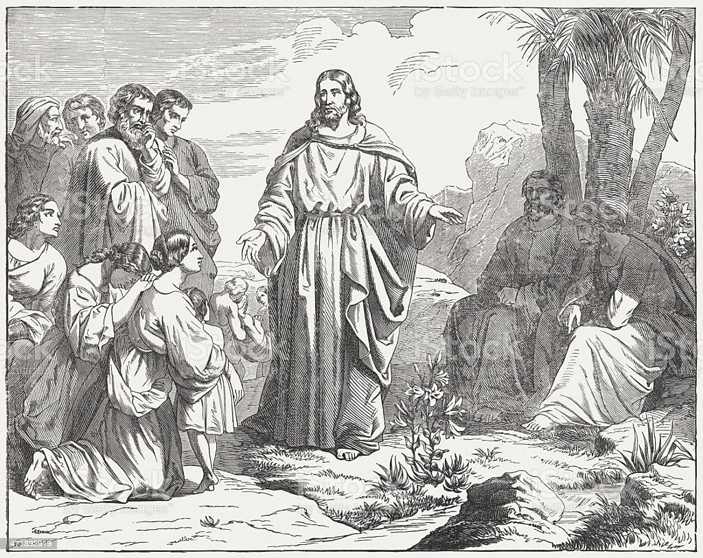 Jesus said: 'Come to me.' (Matthew 11, 28), published 1877 royalty-free stock vector art