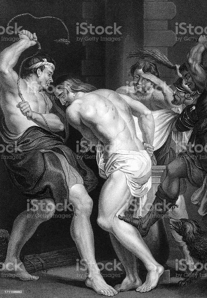 Jesus Scourged royalty-free jesus scourged stock vector art & more images of 19th century