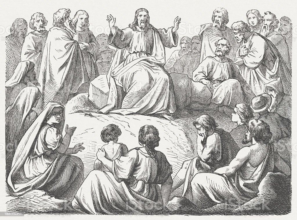 Jesus' Sermon on the Mount (Matthew, 5) vector art illustration