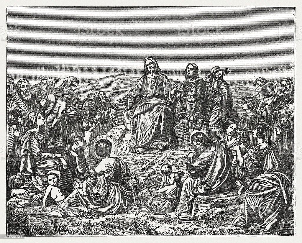 Jesus' Sermon on the Mount (Matthew 5) vector art illustration