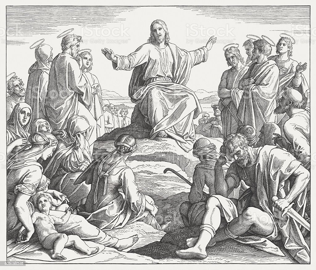 Jesus' Sermon on the Mount (Matthew 5), published in 1860 vector art illustration