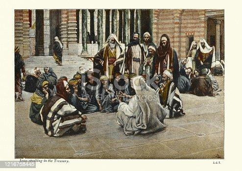 istock Jesus speaking in the treasury 1216758445