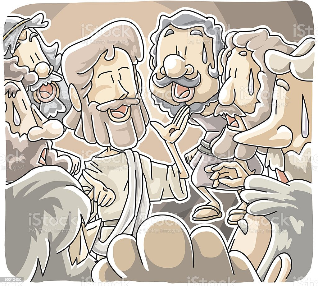 Jesus stood among disciples - Royalty-free Alleen mannen vectorkunst