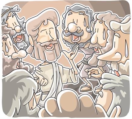 Jesus Stood Among Disciples Stockvectorkunst en meer beelden van Alleen mannen