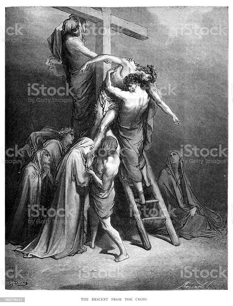Jesus taken down from the Cross vector art illustration