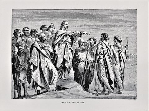 Jesus Christ teaches his apostles. Illustration published in The Life of Christ by Louise Seymour Houghton (American Tract Society: New York) in 1890. Copyright expired; artwork is in Public Domain. Digitally restored.