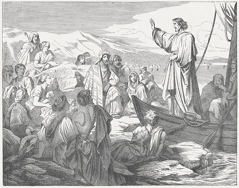 Jesus teaches from a boat to the people, published c.1880
