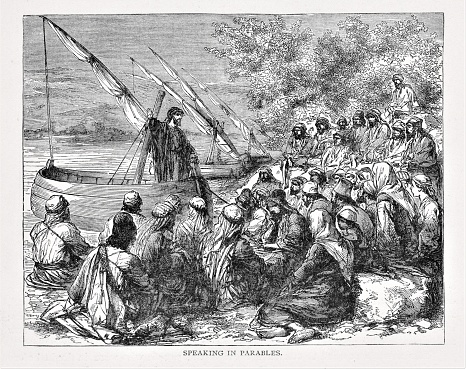 Jesus Christ stands in a boat teaching a crowd sitting on the shore. Illustration published in The Life of Christ by Louise Seymour Houghton (American Tract Society: New York) in 1890. Copyright expired; artwork is in Public Domain. Digitally restored.