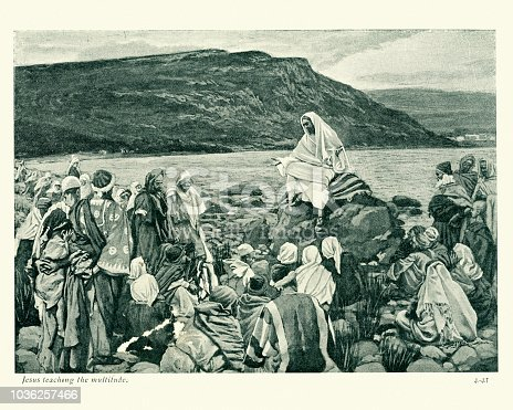 Vintage engraving of Jesus teaching the multitude by James Tissot