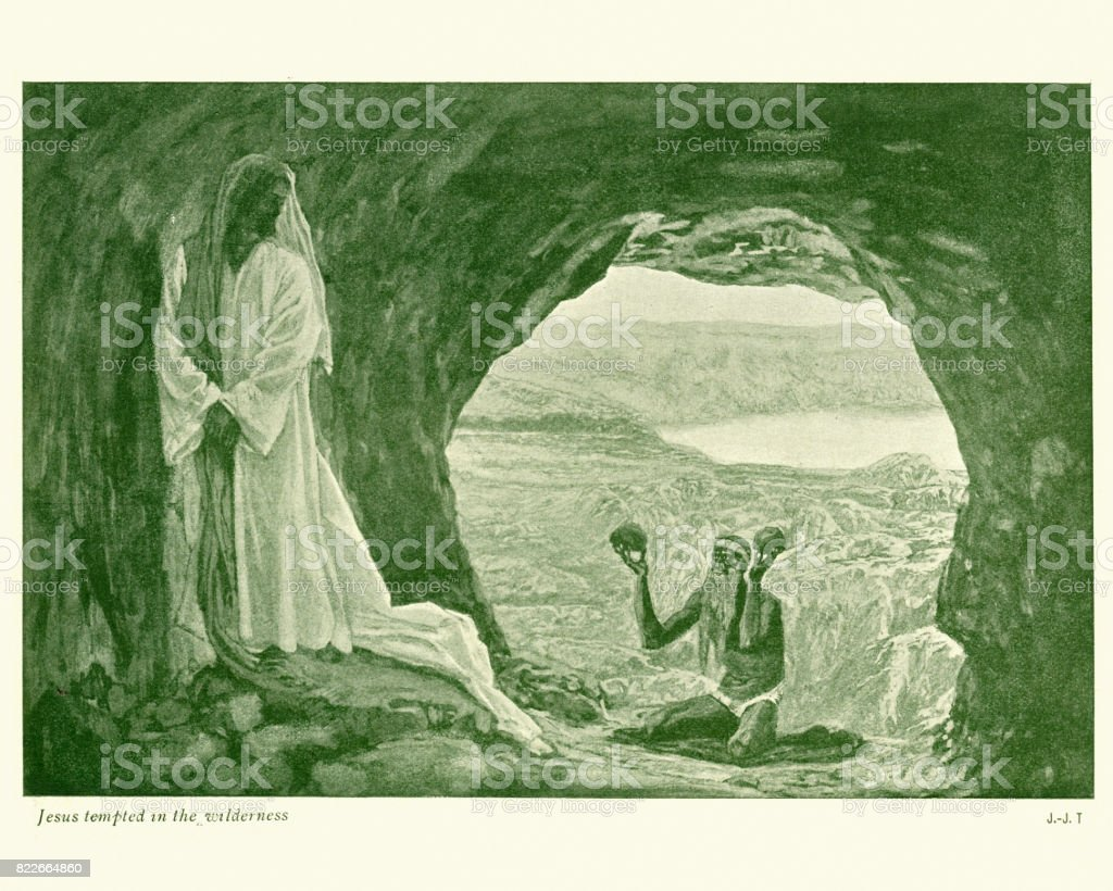 Jesus tempted in the Wilderness vector art illustration