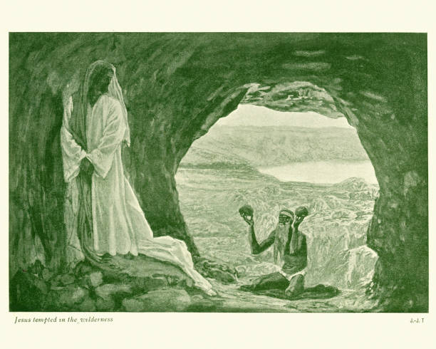 Jesus tempted in the Wilderness vector art illustration
