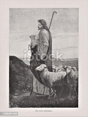 istock Jesus the Good Shepherd 1298381046