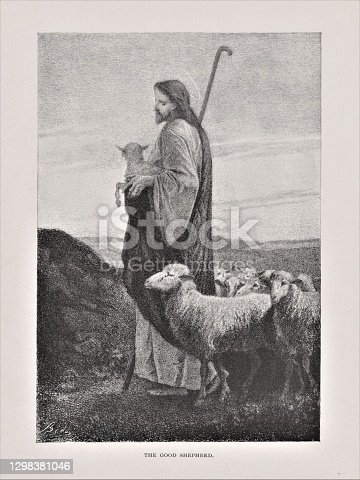 Jesus Christ depicted as a loving shepherd. Illustration published in The Life of Christ by Louise Seymour Houghton (American Tract Society: New York) in 1890. Copyright expired; artwork is in Public Domain. Digitally restored.