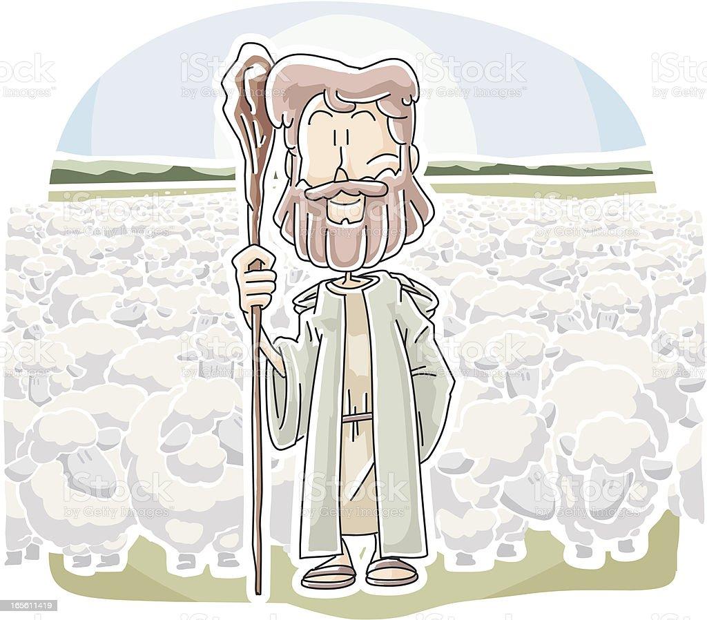 Jesus The good shepherd vector art illustration