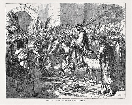 Jesus Christ rides a donkey into Jerusalem during Passover. People welcome him by waving palm branches. Illustration published in The Life of Christ by Louise Seymour Houghton (American Tract Society: New York) in 1890. Copyright expired; artwork is in Public Domain. Digitally restored.