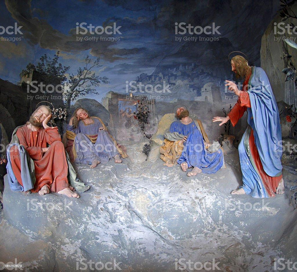 Jesus wakes up the apostles vector art illustration