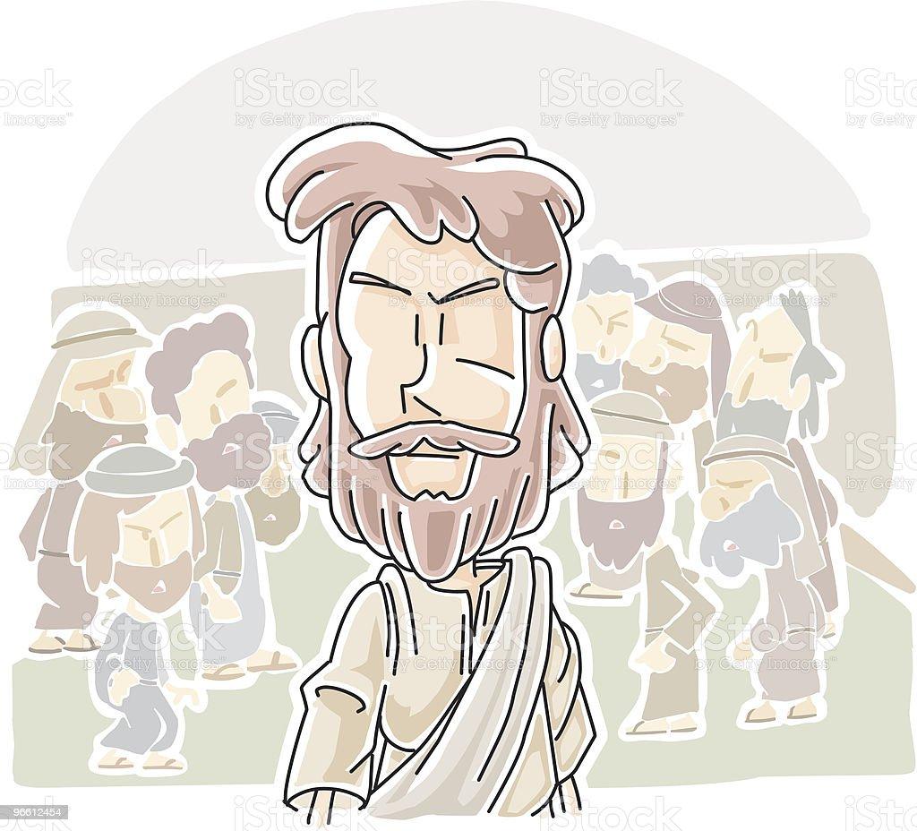 Иисус прошел через толпу - Векторная графика Иисус Христос роялти-фри
