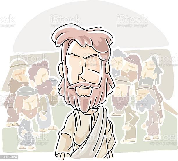 Иисус Прошел Через Толпу — стоковая векторная графика и другие изображения на тему Иисус Христос