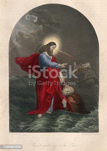 Vintage engraving of Jesus walking on the sea