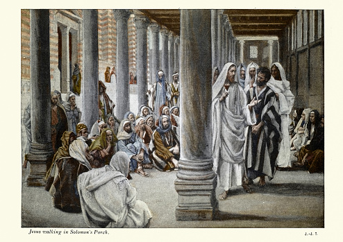 Vintage illustration of Jesus Walks in the Portico of Solomon, By James Tissot.