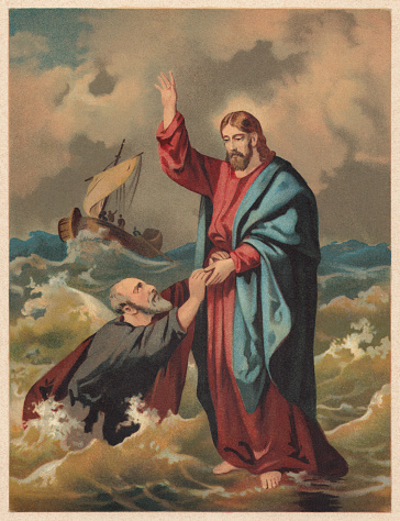 Jesus walks on the water (Matthew 14), chromolithograph, published 1886