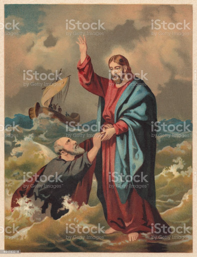 Jesus walks on the water (Matthew 14), chromolithograph, published 1886 vector art illustration