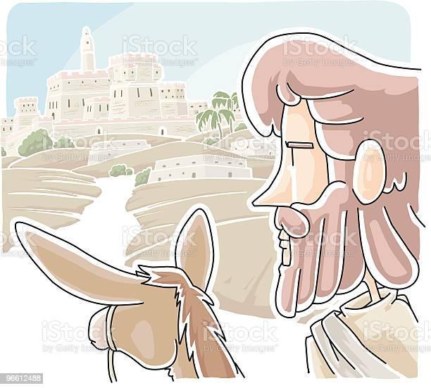Wept Иисуса В Иерусалим — стоковая векторная графика и другие изображения на тему Jesus Christ