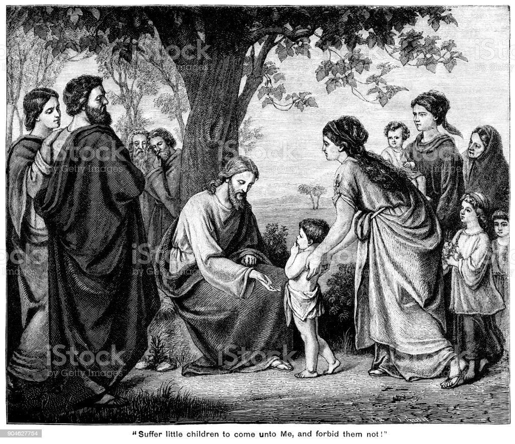 Ilustración de Jesús Con Los Niños Sufren Los Niños Venir A Mí y más  Vectores Libres de Derechos de Adulto - iStock