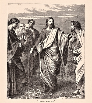 Jesus Christ with his apostles. Illustration published in The Life of Christ by Louise Seymour Houghton (American Tract Society: New York) in 1890. Copyright expired; artwork is in Public Domain. Digitally restored.