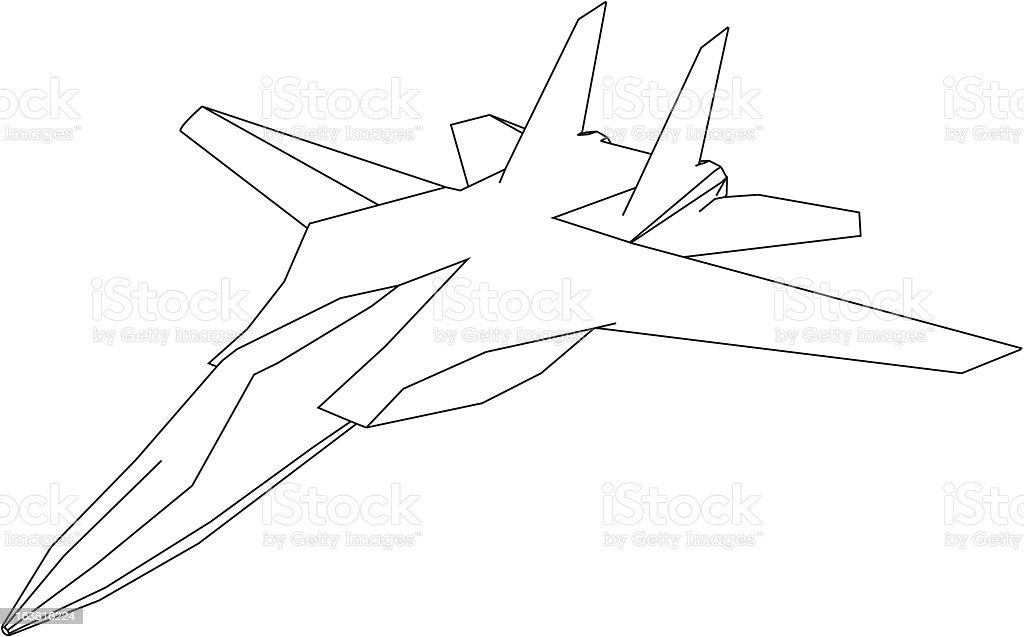 jet fighter drawing royalty free stock vector art