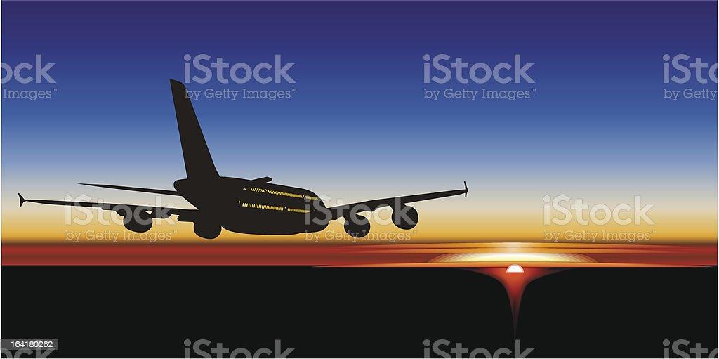 Jetliner A380 al atardecer - ilustración de arte vectorial