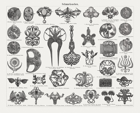 Jewelry from the Art Nouveau period, wood engravings, published 1899