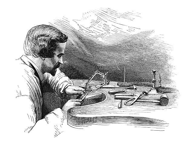 illustrazioni stock, clip art, cartoni animati e icone di tendenza di gioielli-a: processo di archiviazione (antico incisione) - uomo artigiano gioielli