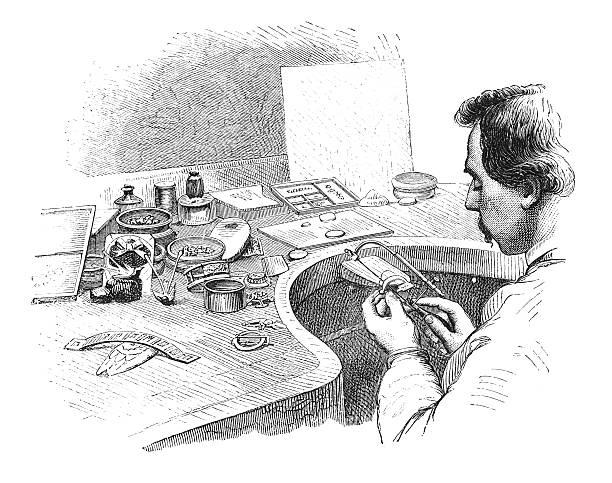 illustrazioni stock, clip art, cartoni animati e icone di tendenza di gioielli-a: segare la forma (incisione) antico - uomo artigiano gioielli