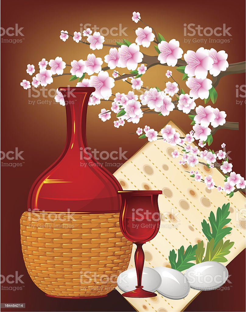 Jewish celebrate pesach passover with eggs,matzo,flowers,wine royalty-free stock vector art