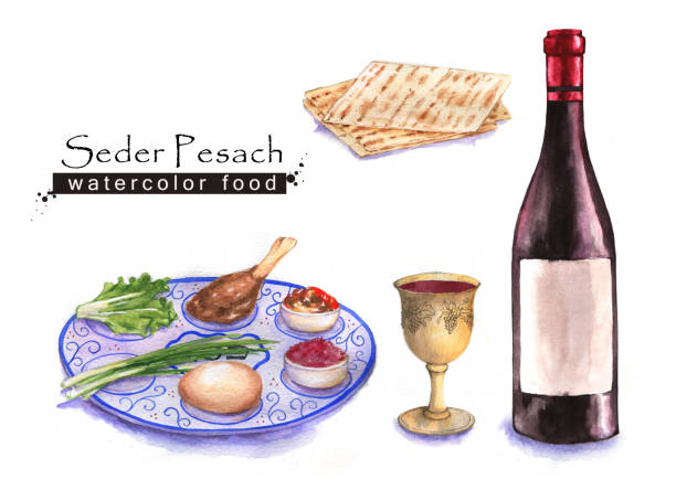 jewish food - passover stock illustrations, clip art, cartoons, & icons