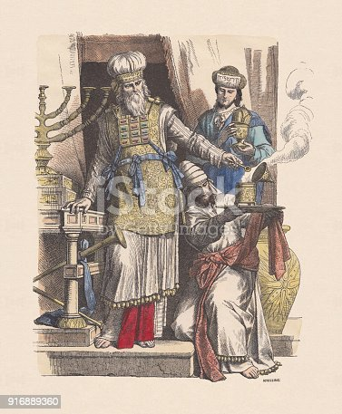 istock Jewish high priest and levites, hand-colored wood engraving, published c.1880 916889360