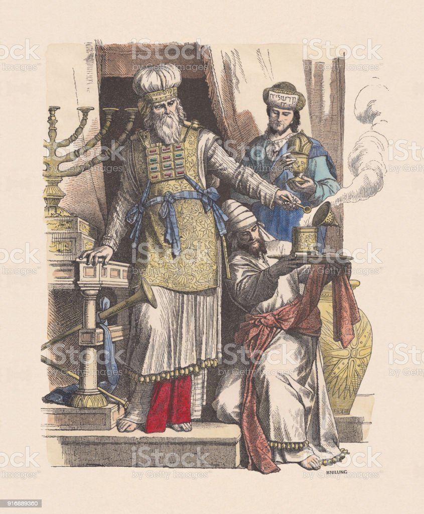 Jewish high priest and levites, hand-colored wood engraving, published c.1880 vector art illustration