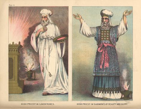Jewish High Priest Garments Biblical Engraving