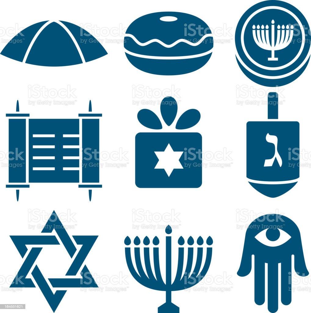 Jewish icons 2 vector art illustration