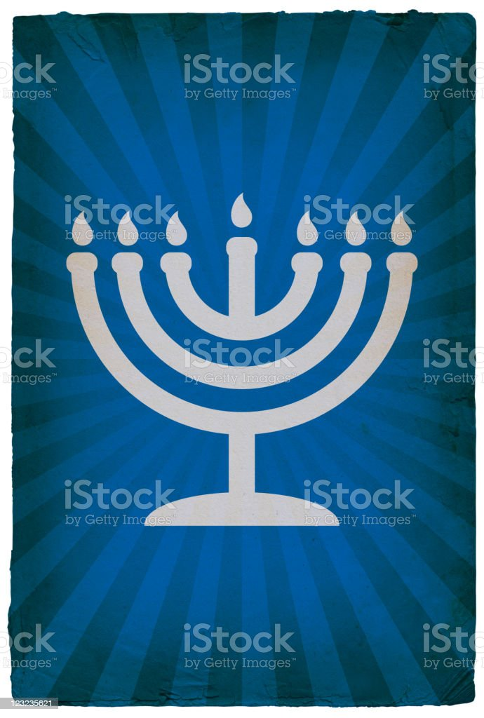 Jewish Menorah on old paper Background royalty-free stock vector art