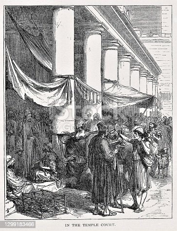 A Jewish Temple during Feast Days in Jerusalem. History. Illustration published in The Life of Christ by Louise Seymour Houghton (American Tract Society: New York) in 1890. Copyright expired; artwork is in Public Domain. Digitally restored.